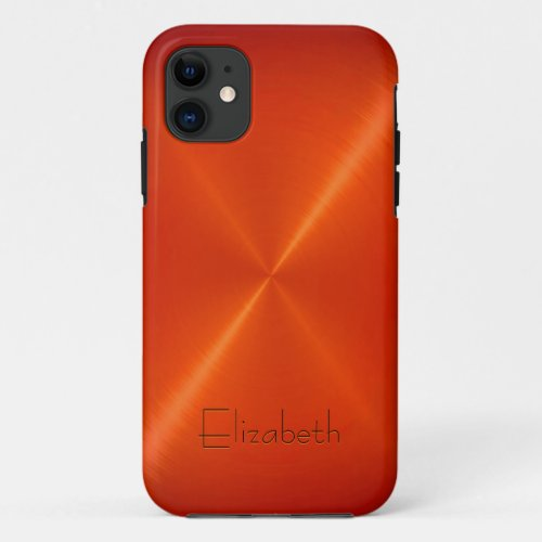 Orange Stainless Steel Metal Look Phone Case