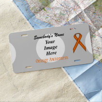 Orange Standard Ribbon by Kenneth Yoncich License Plate