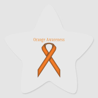Orange Standard Ribbon Star Sticker
