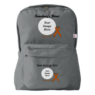 Orange Standard Ribbon Template by Kenneth Yoncich American Apparel™ Backpack