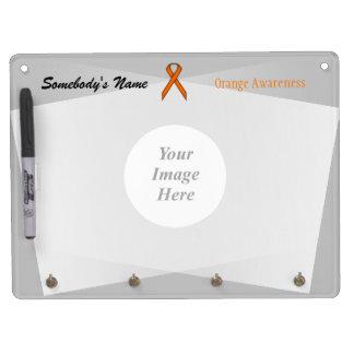 Orange Standard Ribbon Template Dry Erase Board With Keychain Holder