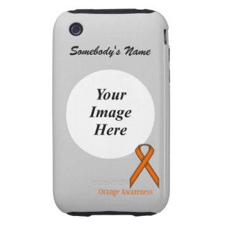Orange Standard Ribbon Template Tough iPhone 3 Covers