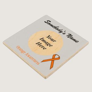 Orange Standard Ribbon Tmpl by Kenneth Yoncich Wood Coaster