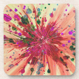Orange Star Abstract Art Modern Acrylic Painting Beverage Coaster
