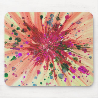 Orange Star Abstract Art Modern Acrylic Painting Mouse Pad