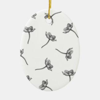 Orange Star Blossoms on White Ceramic Ornament