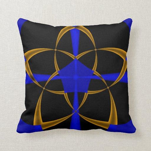 Orange Star Fractal Throw Pillows