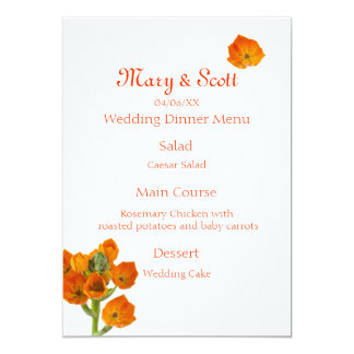 Orange Star of Bethlehem Wedding Menu Card