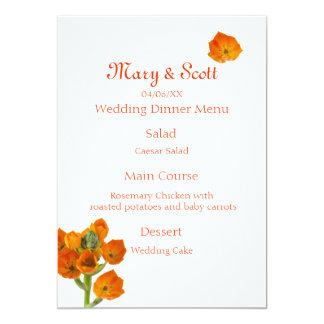 Orange Star of Bethlehem Wedding Menu 5x7 Paper Invitation Card