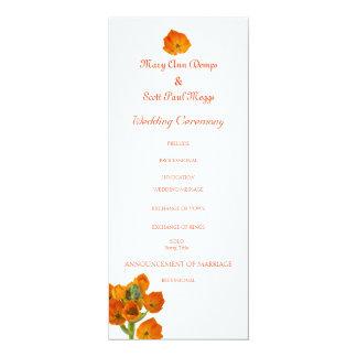 Orange Star of Bethlehem wedding program 4x9.25 Paper Invitation Card
