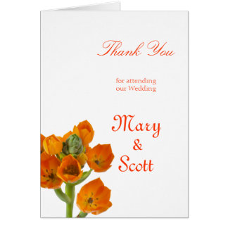 Orange Star of Bethlehem Wedding thankyou Card