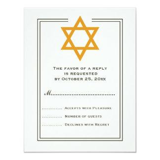 Orange Star of David Bar Mitzvah reply card