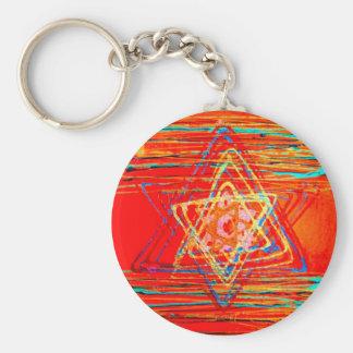 Orange Star of David Basic Round Button Keychain