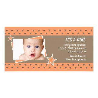Orange Star Photo Birth Announcement