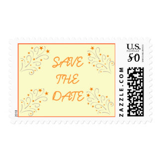 Orange Star Swirls Filigree Generic Save the Date Postage