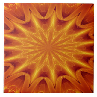 Orange Starburst Ceramic Tile