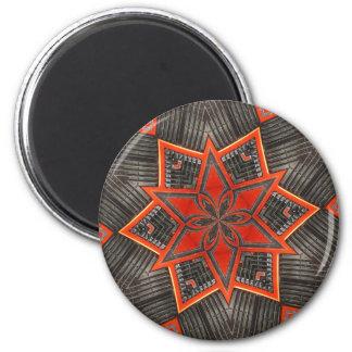Orange Starburst Flower 2 Inch Round Magnet