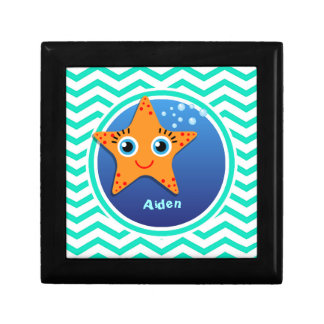 Orange Starfish; Aqua Green Chevron Keepsake Boxes