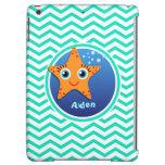 Orange Starfish; Aqua Green Chevron Cover For iPad Air