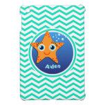 Orange Starfish; Aqua Green Chevron Cover For The iPad Mini