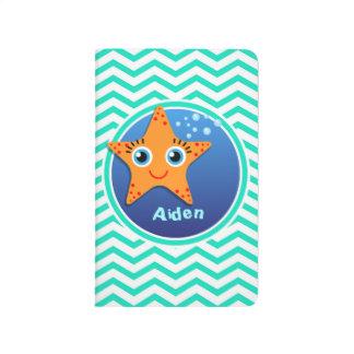 Orange Starfish; Aqua Green Chevron Journal
