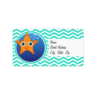 Orange Starfish; Aqua Green Chevron Label