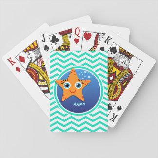 Orange Starfish; Aqua Green Chevron Card Decks