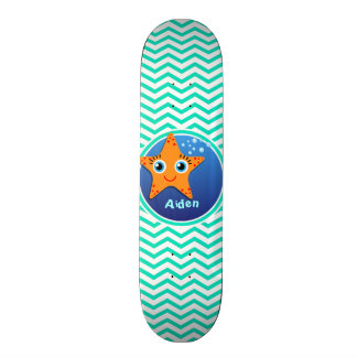 Orange Starfish; Aqua Green Chevron Skateboard