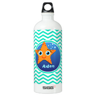 Orange Starfish; Aqua Green Chevron Water Bottle