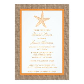 Orange Starfish Beach Burlap Bridal Shower Card