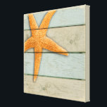 "Orange Starfish Canvas Print<br><div class=""desc"">An orange starfish on a pastel distressed background.</div>"