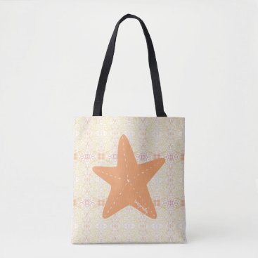 Orange Starfish Large Tote Bag