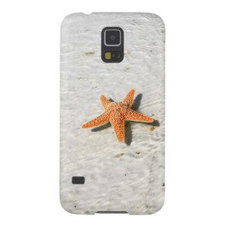 Orange starfish on a white sandy beach case for galaxy s5