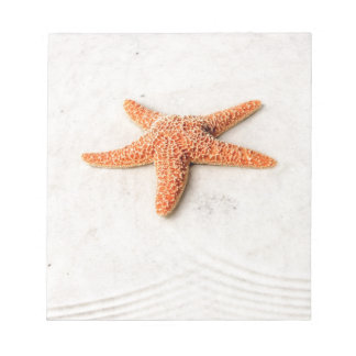 Orange starfish on a white sandy beach notepad