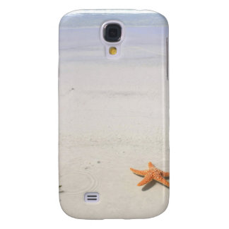 Orange starfish on a white sandy beach samsung s4 case