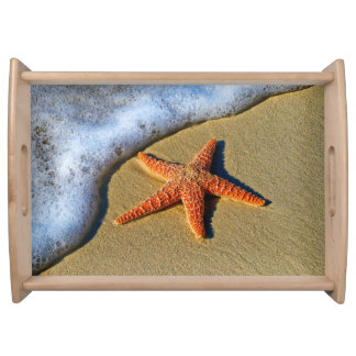 Orange Starfish On Beach Serving Tray