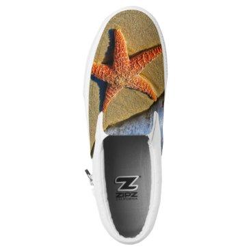 Beach Themed Orange Starfish On Beach Slip-On Sneakers
