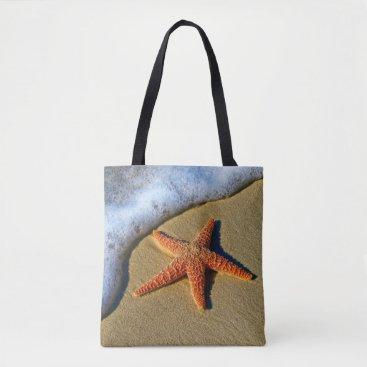 Beach Themed Orange Starfish On Beach Tote Bag