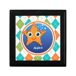 Orange Starfish on Colorful Argyle Pattern Trinket Box