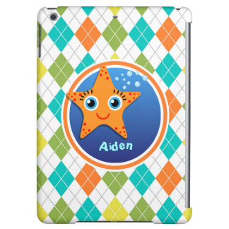Orange Starfish on Colorful Argyle Pattern Cover For iPad Air