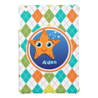 Orange Starfish on Colorful Argyle Pattern iPad Mini Cases