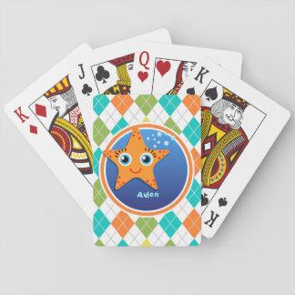 Orange Starfish on Colorful Argyle Pattern Playing Cards