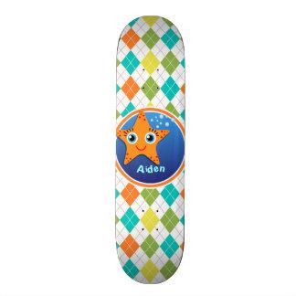Orange Starfish on Colorful Argyle Pattern Skateboards