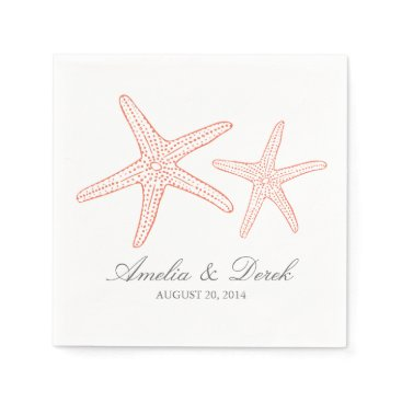 Beach Themed Orange Starfish Paper Napkin