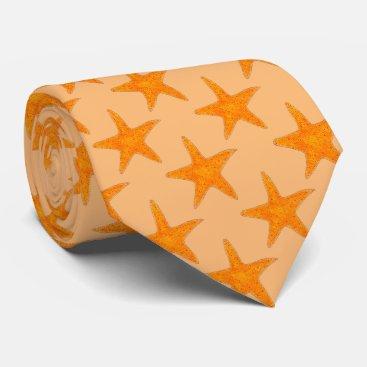 Beach Themed Orange Starfish Star Fish Beach Seashell Shell Tie