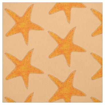 Beach Themed Orange Starfish Star Fish Shell Beach Ocean Fabric