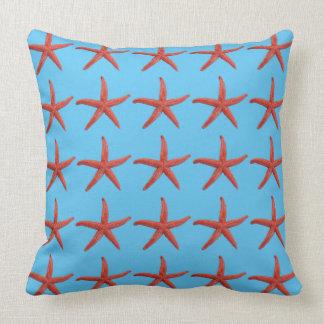 Orange Starfish Throw Pillow