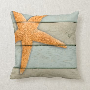 Beach Themed Orange Starfish Throw Pillow