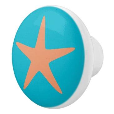 Beach Themed Orange Starfish turquoise beach theme ceramic knob