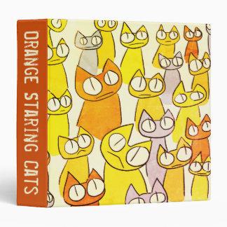 Orange Staring lot Cats Binder